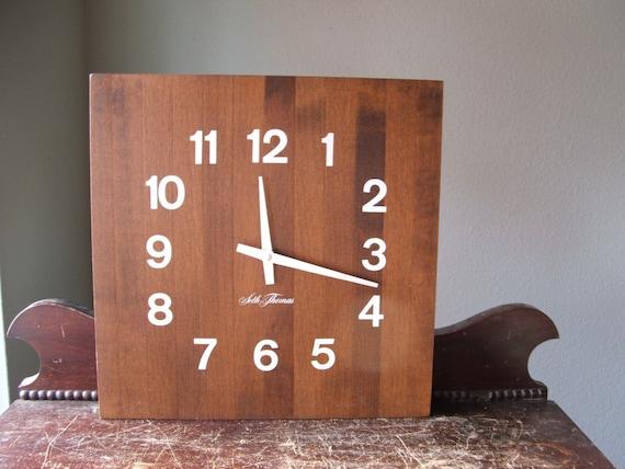 Seth Thomas Butcher Block Wall Clock
