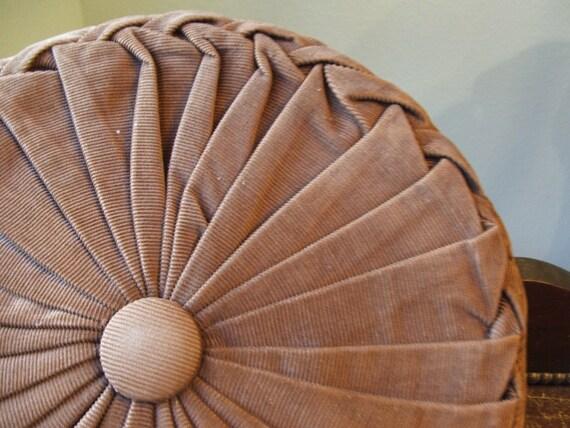 Brown Corduroy Lattice Smocked Round Pillow