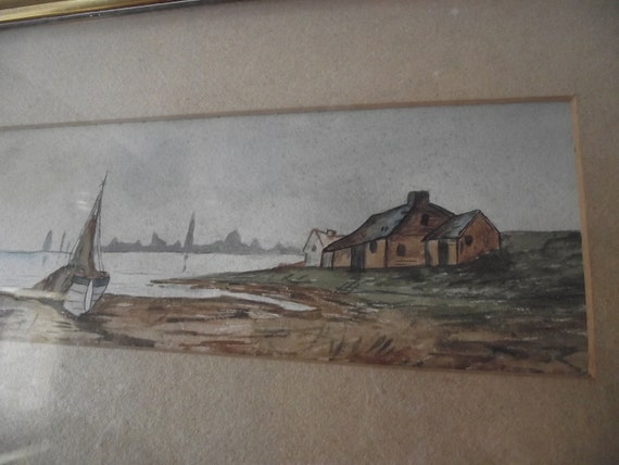 Antique Watercolor Boat Painting Framed in a Gesso Frame under Glass