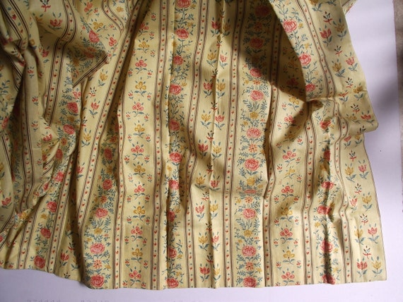 Large Pleated Drapes - Soft Yellow Cottage Folk Floral