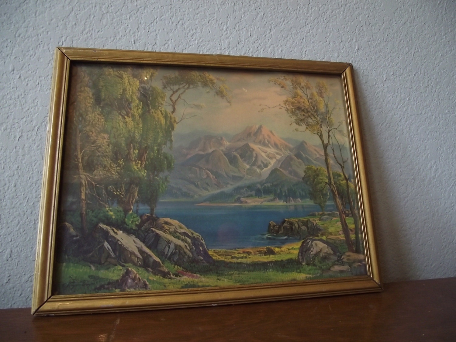 Vintage Grayson Sayre Mountain Lithograph Print Reserved For
