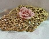 Vintage Bisque Rose and Gold Tone Barrette Ornate