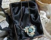 Antique Rhinestone Aquamarine and Gold Necklace