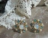 Vintage Rhinestone and Glass Opal Earrings