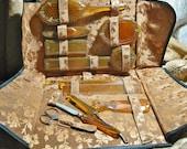 Antique Art Deco Vanity Set Butterscotch with Case 11 Pcs