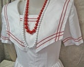 Vintage Sailor Dress Red and White Linen