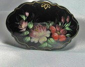 Vintage Hand Painted Russian Signed Brooch