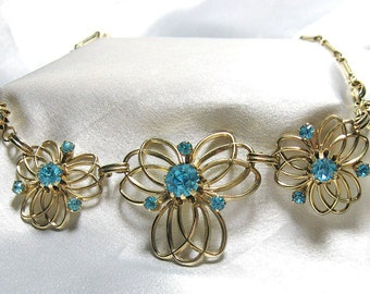Vintage Aqua Rhinestone Necklace