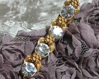 Vintage Rhinestone Hair Clip Gold Tone