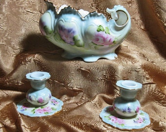Vintage Porcelain Bowl and Candle Sticks Hand Painted