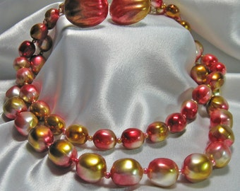 Vintage Necklace and Earrning Set  Fall Warm Gold and Cranberry