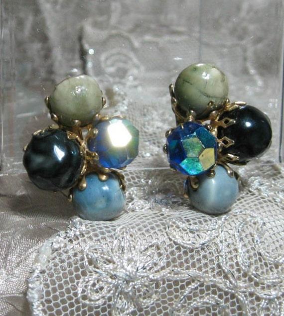 Vintage Glass Vogue Earrings Subtle Colors