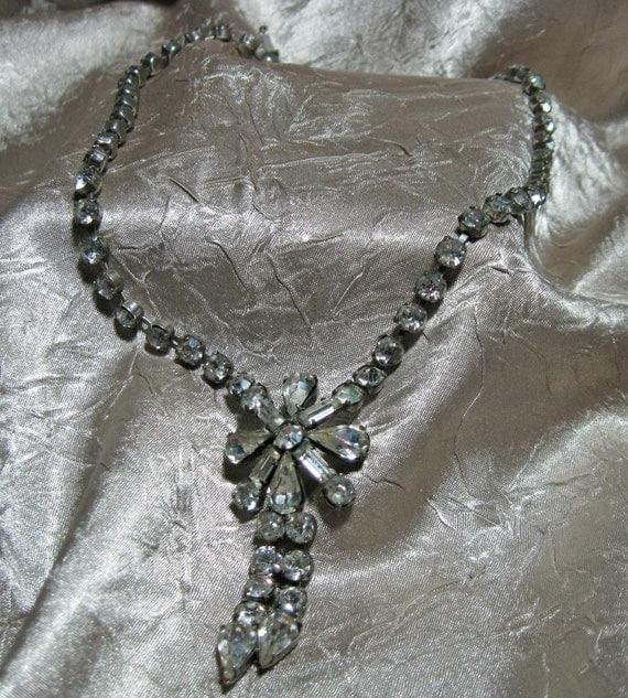 Vintage Sterling Silver Rhinestone Jay Flex Necklace