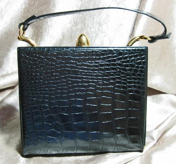 Vintage  Alligator Kelly Bag Purse Black 1940s