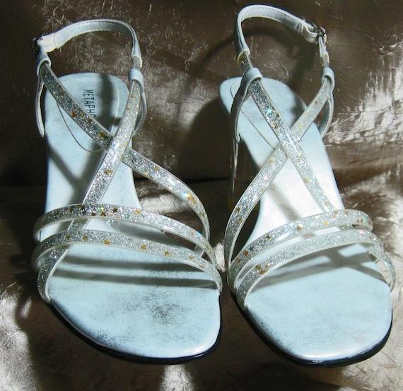Vintage Glitter Strappy Acrylic Heels