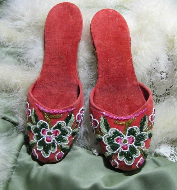 Vintage Beaded Boudoir Slippers 1930