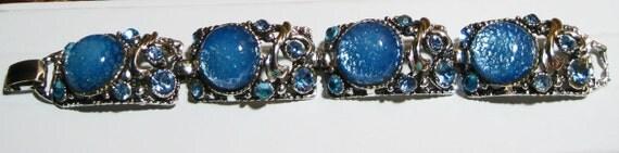 Vintage Glass Silver Tone Bracelet Blue Glitter  RESERVED for Jacqueline
