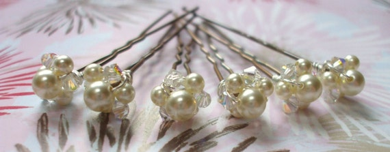Swarovski crystal and Glass pearl Bridal hair pins alternative tiara for wedding or special occasion
