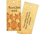 Elegant wedding gift tags, plantable favor tags, monogrammed tags, custom favor tag, damask favor tag, seeded paper wedding gift tag, {25}