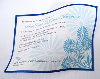 Modern wedding invitations on linen fabric, turquoise blue floral invites -  25