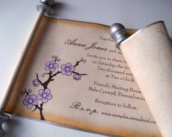 Cherry blossoms wedding invitations, spring scroll invitations, set of 10