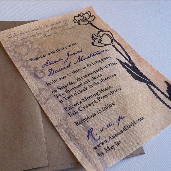 Vintage Poppy Linen Fabric Wedding Invitation By