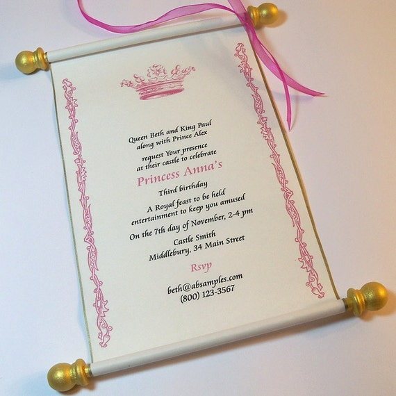 royal birthday party scroll invitation set by artfulbeginnings. Black Bedroom Furniture Sets. Home Design Ideas