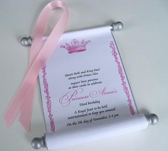 Princess Birthday Invitation Scroll With Royal By