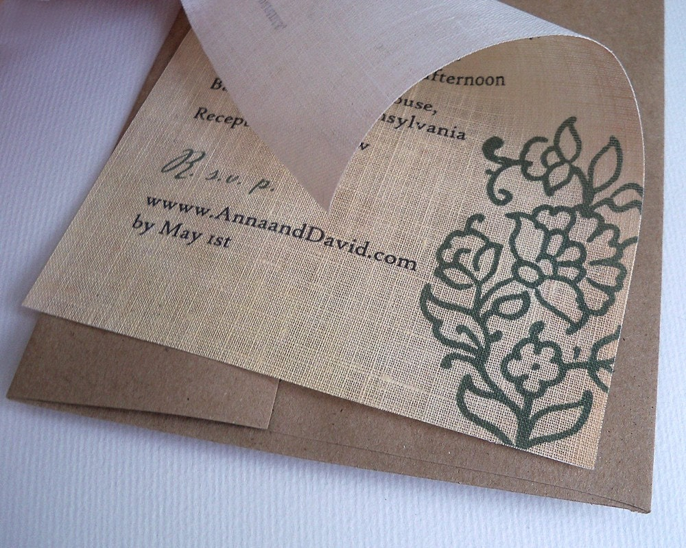 Rustic Wedding Invitation on Linen Fabric with