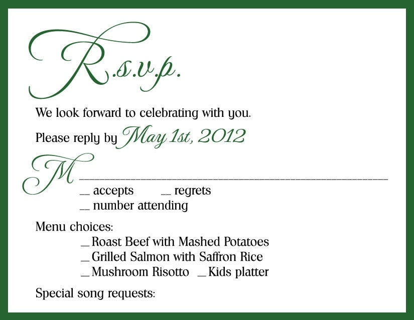 Rsvp Date For Wedding Invitation | Wedding Invitations Ideas