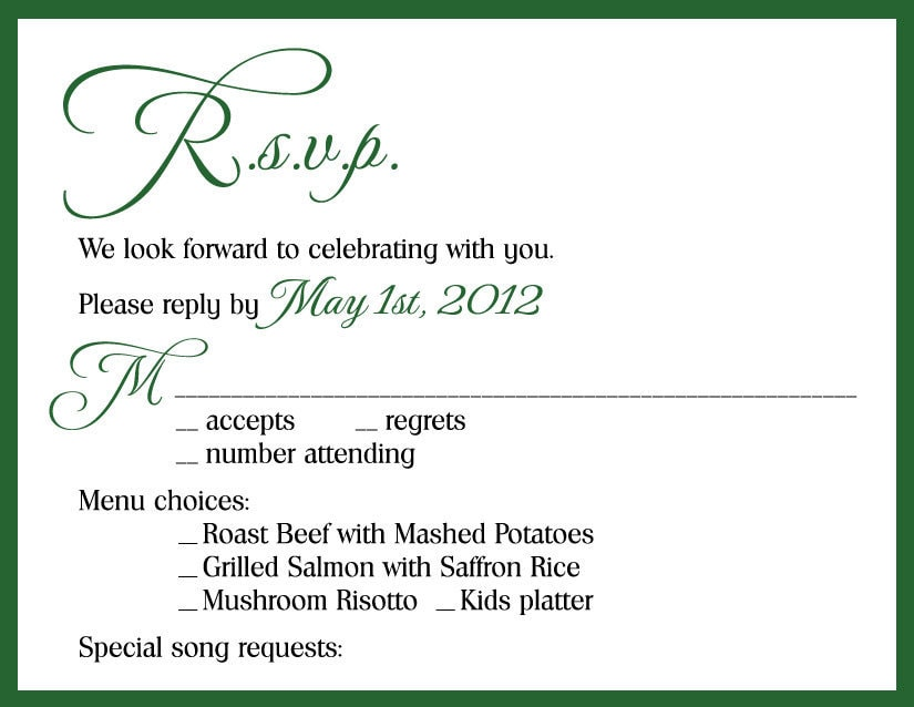Rsvp Card Wedding Invitation | Wedding Invitations Ideas