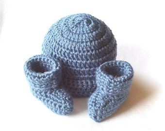 OBE Crocheted Newborn Country Blue Beanie Hat and Booties Set