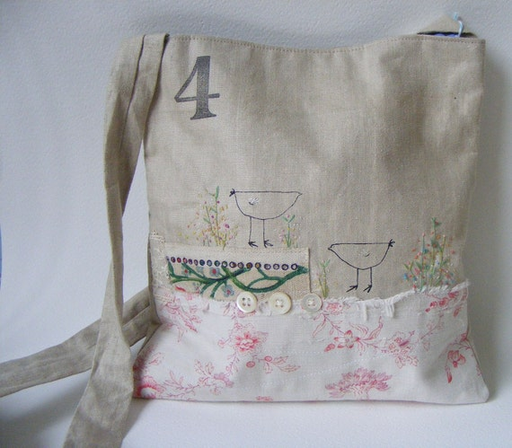 Handmade cross body bag...Two birdies in the flowers