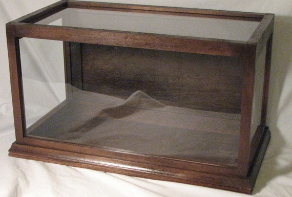 DISPLAY CASE -Mahogany - SOLID Wood - Tempered Glass Panels