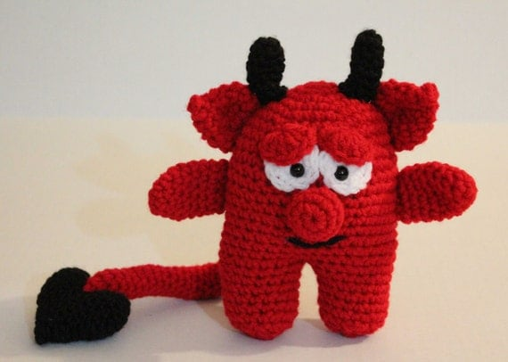 Lil' Devil  - Crochet Amigurumi Pattern - Little Devil with his heart tail is a Great Gift for Valentines Day
