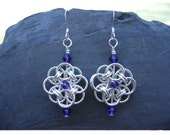 Chainmaille  Rosettes with Purple Velvet Crystals
