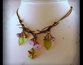 Spring Bee and Flowers Leather and Bronze Necklace