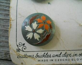 Buttons 11 Wood Czech Buttons on Original Cards