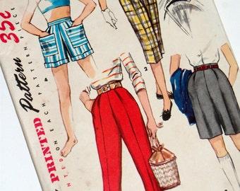 Vitage Sewing Pattern • Shorts Slacks Peddle Pushers • Size 12 1955 Simplicity
