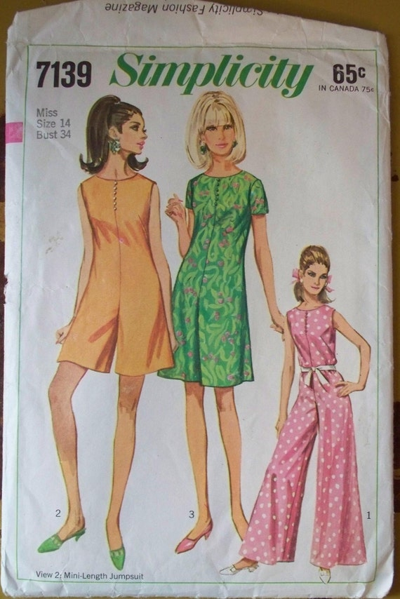 1967 simplicity pattern palazzo pant or mini length jumpsuit