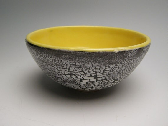 Noodle bowl small ceramic serving bowl yellow pottery bowl Free Shipping