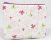 Zipper Pouch - Padded Pouch - Camera Bag - Coin Purse - Zipper Bag - Butterflies - White