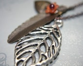 Vintage Feather and Silver Leaf on Organic Mini Heart Brass Locket Necklace - 1 pc