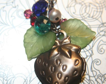 Vintage Strawberry Locket  Crystal Cluster Necklace - 18 inches