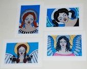 Set of 4 Folk Art Angel Art Cards