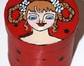 Hand Painted Folk Art Trinket Box