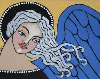 Original Folk Art Angel Painting