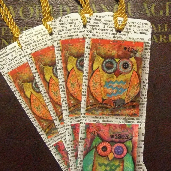Wise Owl Bookmarks set of 4 by mixed media artist June Pfaff Daley