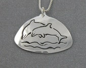 Sterling Double Dolphin Pendant