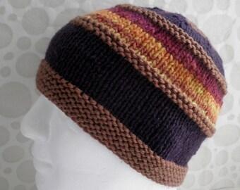 KNITTING PATTERN/VERMONT Mans Hat Pattern / Noro Aran Wool / Knit Straight/Intermediate Knit/ Mans Knit Hat Pattern/Mens HatKnitting Pattern